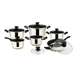 Vinaroz - Vieste Series 12-piece Cookware Set - 12-piece cookware set includes a 2 qt sauce pan with lid, a 3.2 qt saut��_ pan with lid and helper handle, plus 4 casseroles with lids (2 qt, 3 qt, 4 qt and 6.5 qt)