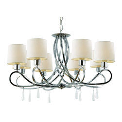 Trans Globe Lighting - 70398 PC 8 Light ChandelierTransitional Indoor Collection - Transitional contemporary selection in easy swoop armed chandelier with hardback white linen fabric shades. Easy style with transitional flair.