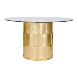 "Worlds Away - Gold Amanda Dining Table - Gold leaf basket weave dining table with 54"" diameter glass top."