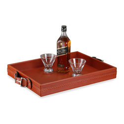 Interlude - Josette Rectangular Tray - Shaken with stirrups! Even Bond wouldn't object to wetting his whistle on the equestrian side. This leather tray with polished nickel stirrup handles will be the hit of the cocktail party. When not in use, set this leather tray on a bar or wine service to keep bar ware and glassware corralled.