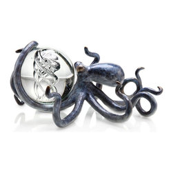 "SPI - Octopus with Treasure - 3.5""D Glass Ball Included - -Size: 5"" H x 9.5"" W x 7.5"" D"