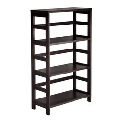 Winsome Wood - Leo 3-Tier Shelf, Wide - Our Leo 3-Tier Shelf has three sections that can hold the Espresso one large storage basket or two small storage baskets each perfectly. Mix and match with the other Espresso Storage Shelves, both narrow and wide.