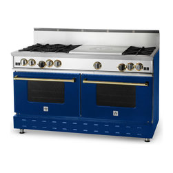 "60"" BlueStar RNB French Top Range - Cobalt Blue (RAL 5013) 60"" RNB French Top Gas Range with 6 Burners, can come in 190 different colors. This burner configuration is just one of the many options."