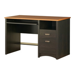 South Shore - Gascony Collection Desk, Ebony and Spice Wood - Not only does this desk look good, the price looks even better!  Efficient work desk has a spice wood finish on top and an ebony finish on the bottom for a nice contrast.  Two drawers have brushed metal handles and there's a sliding keyboard tray. * Manufactured from eco-friendly, EPP-compliant laminated particle board carrying the Forest Stewardship Council (FSC) certification. Ebony and Spice wood finish. Metal handles. 1 utility drawer, 1 file drawer and 1 convenient open case. Sliding keyboard tray. Decorative kickplate. Metal Glides. Manufactured from engineered-wood products. Made of engineered wood from 100% recycled wood fiber. 5-year warranty. Assembly required. Work surface weight capacity: 75 lbs.. Drawer weight capacity: 30 lbs. each. Top is 1 in. thick. 48 in. W x 24 in. D x 31 in. H