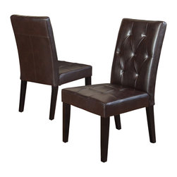 Great Deal Furniture - Dacey Fabric Dining Chair (Set of 2), Brown Leather - The Dacey dining chair provides comfort and elegance to any room. This piece is upholstered in rich fabric and features a well-padded tufted seat and backrest for added style and stands on espresso stained wooden legs. Its wide seat makes this chair roomy enough to use as an accent chair.