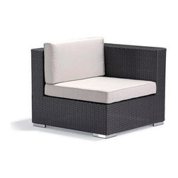 Caluco - Dijon Sectional Left - The Dijon Sectional Left combines style, durability, and comfort to provide unmatched value in outdoor seating.  Pictured in the CH dark java wicker.