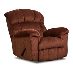 Simmons - Simmons Victor Chenille Oversized Rocker Recliner - 558- BURGUNDY - Shop for Recliners from Hayneedle.com! With its large scale and ultra-soft chenille upholstery the Simmons Victor Chenille Oversized Rocker Recliner cradles you in comfort. This rocker-recliner features a fully padded chaise overstuffed arm pads that form into the seat and an inset seat cushion and chaise pad. Its triple-pub catcher's-mitt back adds style. It also features a wood frame ultra-plush cushions and chenille upholstery. Comes in your choice of available color options.About United Furniture IndustriesUnited Furniture Industries emerged in 2000 from a merger and acquisition of Comfort Furniture Parkhill Furniture and United Chair. Their mission was to create a company with the vision and resources needed to be an industry leader. By 2008 United Furniture Industries had done just that by receiving an exclusive licensing agreement with Simmons Upholstery a leading resource for microfiber and bonded leather upholstery fabric models. United Furniture Industries has production facilities around the United States. They offer an extensive affordable line of trend-setting furniture that includes microfiber bonded leather and upholstery fabric furniture sofas sectionals chaise lounges recliners motion sofas and Hide-A-Bed sleepers.