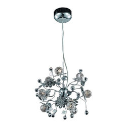 """PWG Lighting / Lighting By Pecaso - Geraldene 9-Light 18"""" Crystal Chandelier 1763D18C-EC - The Geraldene Collection adds a touch of whimsy to interiors. Clusters of crystal flowers sparkle on delicately designed chrome finished frames."""