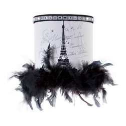 Brandi Renee Designs - All Lit Up Princess Petite Paris Lamp Shade - Is there anything more romantic than a stroll through Paris? Our glamorous All Lit Up Princess Petit Paris lampshade features a silhouette of the Eiffel Tower, an art deco bejeweled top, and black feather boa ruffles along the bottom. This lampshade is glamorous, sexy and oh-so-romantic. Like every BRDesign lampshade, our All Lit Up Princess Petit Paris lampshade is handcrafted from the finest quality materials. C'est magnifique!