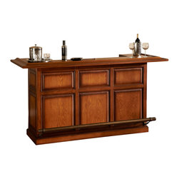 Kokomo Bar - Design the ultimate game room complete with this vintage oak bar. It's got everything you need — stemware holders, wine rack, shelving, locking cabinets and more. Whether you're throwing a Super Bowl party or a simple weekend get together, this sleek bar will score points with all your guests.