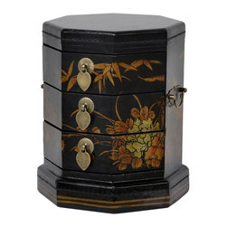 Oriental Furniture - Black Lacquer Hexagon Jewelry Box - This octagonal three-drawer keepsake box features hand-painted birds and flowers and a medium gloss black lacquer finish. The petite drawers are close fitting, with antiqued brass handles and leaf drawer pulls. In the Far East, eight is the luckiest number, and an eight sided box like this one is auspicious for storing valuables and keepsakes safely.