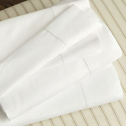 Ballard Designs - Ballard Signature Percale Sheets - Wake up to the best sheets we??ve ever made. The perfect blend of softness, breathability and strength, our Signature Percale Sheets are made of luxurious 400-thread count Pima cotton, specially selected for its extra long staple fibers that provide an exceptionally supple hand.Signature Percale Sheet features:. Soft, yet crisp, feel with timeless hemstitch detail. Layers with our best-selling bedding collections. Fitted sheet is fully elasticized & fits up to a 15? deep mattress. Open weave provides comfortable breathability. Customize flat sheet with a monogram.