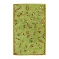 Dynasty Collection Persian Garland Sage Green Multi Floral Wool Area Rug - Greens and botanicals are a nice mix for a rug. This one would be a show-stopper.