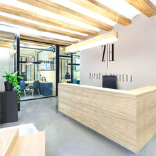 Office & Workspace: Wonderful Wooden Material Furniture And Concrete Floor Comme