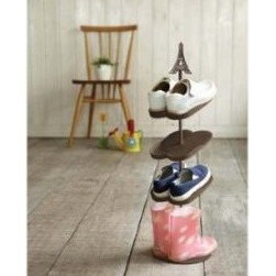 Eiffel Tower - Brown Kid's Shoe Rack for 4 Pairs - This Eiffel Tower is perfect for storing small kid shoes.