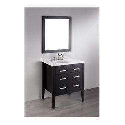 Bosconi - 31 in. Single Vanity in Black Finish - Faucet and drain not included. Neat and elegant design. Two soft closing drawers. Silver finished hardware. Under mount white ceramic single sink. Three 8 in. standard faucet holes. Overflow drain. 0.5 in. thick white Carrera marble countertop. CARB PH2 Certified sides and paneling. Made from birch solid wood frame. Matching backsplash: 0.7 in. D x 2.75 in. H. Mirror: 29.5 in. W x 33 in. H (23 lbs.). Sink: 18 in. W x 15 in. D x 7.6 in. H. Vanity: 31 in. W x 22 in. D x 35 in. H (121 lbs.)