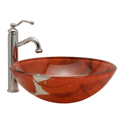 Autumn Leaf Glass Vessel Sink - The Autumn Leaf Glass Vessel Sink features warm, fall colors and sophisticated leaf detailing that make it the perfect focal point for any lavatory. Pair with your favorite vessel filler or wall-mount faucet to complete the look.