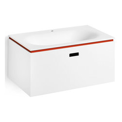 WS Bath Collections - Vanity Unit with One Drawer in White & Red - Modern/contemporary design. Designer high end quality bathroom vanity. Vanity unit with thermoformed washbasin. Made from mattstone panelled and thermoformed washbasin in acrylic. Warranty: One year. Made in Italy. 27.6 in. W x 16.5 in. D x 13 in. H (60 lbs.). No assembly required. Spec SheetLinea; washbasins, washstands, and bathroom furniture, of various sizes and materials. Pureness of glass, polish of steel, and warmth of wood. Perfection of lines, art, and harmony.