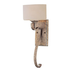 Savoy House - Varna Sconce - This bold wall sconce makes a gleaming addition to your hallway or study. Its most dramatic feature is the curved arm that reaches up to hold the fixture and its light-golden cover.