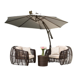 Great Deal Furniture - Key West Outdoor Cantilever Patio Umbrella Canopy, Silver - The innovative design of the Key West Cantilever Sun Canopy makes this piece a perfect shade solution for you and your guests. The height and direction of the canopy covering are both easily adjustable with the turn of a handle, giving you personalized shade to fit your needs. This canopy comes complete with a base that the pole can easily fit into, creating a sturdy foundation for the structure. Function and form go hand in hand with this durable piece, designed to give you all of the benefits of being outdoors at no cost to comfort.