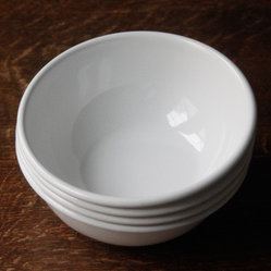 White Enamel Bowls - White enamel bowls from Alder & Co. are lovely to look at, and unbreakable in the chance of a powerful gust of wind.