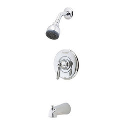 Price Pfister - Price Pfister R89-8PC0 Portland Single Handle Pressure Balanced Tub and Shower T - Price Pfister R89-8PC0 Portland Single Handle Pressure Balanced Tub and Shower Trim with Single Function Showerhead in Polished ChromeRemarkable style at an impressive value, the Portland collection provides strength and lifetime durability.Price Pfister R89-8PC0 Portland Single Handle Pressure Balanced Tub and Shower Trim with Single Function Showerhead in Polished Chrome, Features:• Trim Only: Valve Not Included