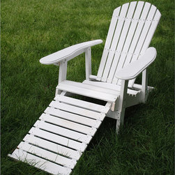 None - White Folding Adirondack Pull-out Footrest Chair - Add a classic touch of style to your yard with this folding white Adirondack chair. The chair features a fold-out footrest for additional comfort,and its traditional wooden slat design blends seamlessly with most home and yard decorations.