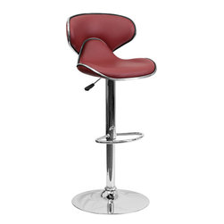 Flash Furniture - Cozy Mid-Back Burgundy Vinyl Adjustable Height Bar Stool with Chrome Base - This may be the most comfortable and attractive stool out there with its ergonomically curved seat and back. The mid-back design will allow you to relax your back. You're sure to receive compliments with this stool in your home. The easy to clean vinyl upholstery is perfect when being used on a regular basis. The dual purpose design performs as a counter height stool or a bar height stool. The height adjustable swivel seat adjusts from counter to bar height with the handle located below the seat. The chrome footrest supports your feet while also providing a contemporary chic design.