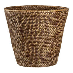 Sedona Tapered Wastebasket - Natural bath accessory in sturdy handwoven rattan and buri, finished in a new warm honey brown.