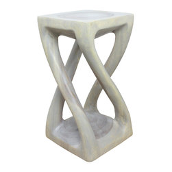Kammika - Vine Twist Stool Sust Wood 12x12x22 inch H w Eco Friendly Livos Agate Grey Oil F - Our Sustainable Monkey Pod Wood Vine Twist Stool 12 x 12 x 22 inch Height with Eco friendly, Natural Food-safe Livos Agate Grey Oil Finish transports you to Thailand where the Monkey Pod tree grows rapidly. The graceful legs of our Vine Twist Stool stretch and curve from base to top in the manner of tree vines, bringing the stately, timeless wonder of nature into your home. Try them out as stool, end table, or display stand. Hand finished in Eco Friendly, Natural, Food-safe Livos Agate Grey Oil creates a highly water resistant and food safe finish. These natural oils are translucent, so the wood grain detail is highlighted; this is then polished to a matte finish. The oil makes the wood turn to antique white look with a light grey patina finish. The light portions of wood turn to shades of beige and the dark wood lightens to shades of brown with a light transparent grey top coat over the white antique looking undercoat. There is no oily feel and cannot bleed into carpets as it contains natural lacs. Made from the branches of the quick-growing Acacia tree in Thailand - where each branch is cut and carved to order (allowing the tree to continue growing), the wood is kiln dried, carved and sanded by, creating a beautiful, sturdy and sustainable place to sit. The color and grain of your stool will be unique, and may include small checks or cracks that occur when the wood is dried. After each piece is carved, kiln dried, sanded, and hand rubbed with Livos oil, they are packaged with cartons from recycled cardboard with no plastic or other fillers. The color and grain of your piece will be unique, and may include small checks or cracks that occur when the wood is dried. Sizes are approximate. Products could have visible marks from tools used, patches from small repairs, knot holes, natural inclusions, and/or worm holes. There may be various separations or cracks on your piece when it arrives. There may be some slight variation in size, color, texture, and finish color.Only listed product included.