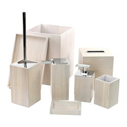 Gedy - Wooden 8 Piece White Bathroom Accessory Set, - Trendy white bathroom accessory set made from wood. Includes soap dish, toothbrush holder, toiletbrush holder, waste bin, tissue box cover, tray, and 2 soap dispensers. Manufactured in Italy. Part of the Gedy Cubico Wood collection. Available in white wood finish. Made from wood. From the Gedy Cubico Wood collection. Designed and built in Italy. Included in set:. Soap dish Gedy PA11-02. Toothbrush holder Gedy PA98-02. Toilet brush holder Gedy PA33-02. Soap dispenser Gedy PA80-02. Waste can Gedy PA09-02. Soap dispenser Gedy PA81-02. Tissue box cover Gedy PA02-02. Tray Gedy PA06-02.