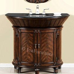 BATHROOM VANITY by: IcaFurniture.com #5310 - BATHROOM VANITY by: IcaFurniture.com #5310 - Single Sink Bath Vanity Cabinet with Black Granite Top, Beveled/OG Edges, Two Doors with Shelf, and White Under mount Sink.