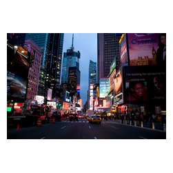Custom Photo Factory - Traffic in Times Square in New York City, USA at Dusk Canvas Wall Art - Traffic in Times Square in New York City, USA at Dusk  Size: 20 Inches x 30 Inches . Ready to Hang on 1.5 Inch Thick Wooden Frame. 30 Day Money Back Guarantee. Made in America-Los Angeles, CA. High Quality, Archival Museum Grade Canvas. Will last 150 Plus Years Without Fading. High quality canvas art print using archival inks and museum grade canvas. Archival quality canvas print will last over 150 years without fading. Canvas reproduction comes in different sizes. Gallery-wrapped style: the entire print is wrapped around 1.5 inch thick wooden frame. We use the highest quality pine wood available. By purchasing this canvas art photo, you agree it's for personal use only and it's not for republication, re-transmission, reproduction or other use.