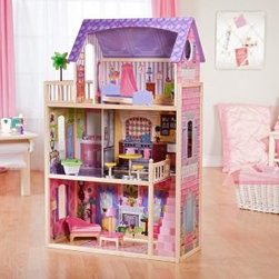 KidKraft Kayla Dollhouse - The highly rated KidKraft Kayla dollhouse is a pink and purple dream house for little girls. Made of sturdy wood, it features large windows, a staircase connecting the first and second floors, an outdoor patio area and 10 pieces of furniture.