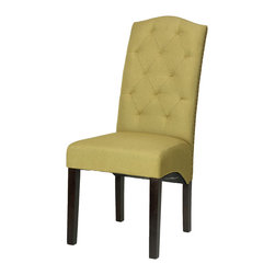 Cortesi Home - Perri Dining Chair in Citron Green Linen (Set of 2) - The crown back Alessa chair is effortlessly subtle in its modern royal design. This dining chair is upholstered in a mid-century yellow-green linen fabric and adorned with brass nailhead trim, it also features a diamond tufted back and legs in a cappuccino finish. It offers high back support and a solid wood frame for added strength and durability.