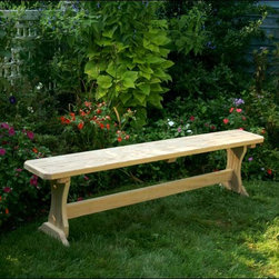 Fifthroom - Treated Pine Trestle Garden Bench - This convenient Trestle Garden Bench is handmade from strong, long-lasting Treated Pine.  Great for use with many tables, it works particularly well with our Trestle Table, which it fits snugly underneath, keeping space requirements to a minimum.  It's also quite handy to have a couple extra benches for large gatherings.