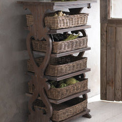 "Basket Etagere - Unique and cleverly designed, this basket etagere is crafted from reclaimed pine.  It offers a tremendous amount of storage via five baskets and a flat top.  Use this piece in a kitchen or any place additional storage is welcome.24""W x 18""D x 46""T"