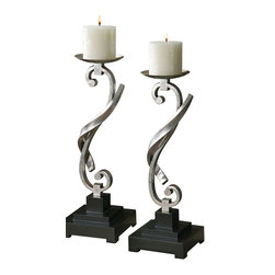 Uttermost - Uttermost 19738 Cyla Curved Candleholders, Set of 2 - Uttermost 19738 Cyla Curved Candleholders, Set of 2