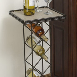 J & J Wire - J & J Wire Wine Rack with Tile Table Top - Set of 2 - 3062 - Shop for Wine Bottle Holders and Racks from Hayneedle.com! The J & J Wire Wine Rack with Tile Table Top - Set of 2 proves you don't need a full bar to flaunt your oenophile status. Each wine rack stacks four bottles of wine vertically in diamond-shaped slots then adds a tile table top for easy serving. Proudly made in the USA from wrought iron with a black powder-coat finish these tall freestanding wine racks stand on sturdy scrolled feet and tuck into the corner of any room. The tile removes for cleaning if your tipsy guests accidentally spill the vino.About J & J Wire Inc.Located at the Industrial Park in Beatrice Nebraska J & J Wire Inc. started 25 years ago as a wire-forming business manufacturing mostly houseware items. Since then the company has grown into a metal fabrication business serving customers in many different manufacturing sectors in the United States and Canada. From quilt racks to wine racks J & J Wire is committed to creating handmade works of art at affordable prices.