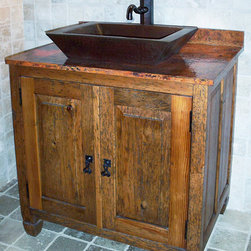 Vanities - Rustic wood single vanity cabinet with 2 working doors. Sink, faucet, and copper top sold separately.Shown with Tempered Copper top