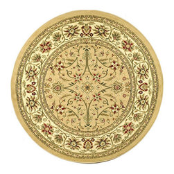 Safavieh - Lyndhurst Collection Majestic Beige/ Ivory Rug (5'3 Round) - Rug is the perfect way to accent your home decor Traditional rug features Persian and European designs Rug displays beige background and ivory border accented with shades of green,red,ivory,rust and beige