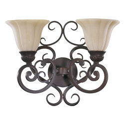 Quorum Lighting - Quorum Lighting Coronado Traditional Wall Sconce X-83-2-5915 - This Quorum Lighting Coronado Traditional Wall Sconce is inspired by the explorations of the 16th-century conquistador, Francisco de Coronado. It's a stunning piece in a gilded bronze finish with gracefully flowing scrollwork and two Etruscan glass shades with an amber accent. This stylish fixture will amaze any one who sees it hanging on your wall.