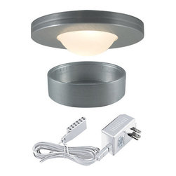 "Jesco Lighting - Jesco Lighting KIT-PK403-BA-A Halogen Straight Edged Slim Under Cabinet Disk Kit - Jesco Lighting has built a solid reputation on quality, service and value. An expanded product offering includes a broad range of indoor and outdoor lighting products. All are available in various energy-efficient lamp sources and options exist for a multitude of power supplies and accessories allowing you to customize according to your project needs.Halogen straight edged slim disk with dipped frosted glass lens kit - brushed aluminum xenon and halogen slim disks offer small-scale, slender, surface-hugging design in high output low-energy sources that provide luminous true white light. Constructed of machined aluminum, fixtures measure less than 3"" in diameter, and can either be recessed or surface mounted includes 3 fixtures and a wall plugged power supply. Slim disks include 72"" Teflon insulated wire and amp connectors for quick connections to transformers the occasional re-lamping is made easy by simply twisting off the trim ring. Attached with note: slim disks are not intended for use in wall or ceiling applications.Features:"