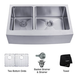 Kraus - Kraus 33 inch Farmhouse Apron 60/40 Double Bowl 16 gauge Stainless Steel Kitchen - *Add an elegant touch to your kitchen with a unique and versatile farmhouse apron sink from Kraus