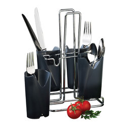 PRODYNE - Metalla Flatware Caddy - The days of plastic silverware are behind you. With this smart caddy, you can display and transport your finest forks and nicest knives with ease. At your next garden party or barbecue, delight your guests with real flatware so they can dig into your meal with gusto.