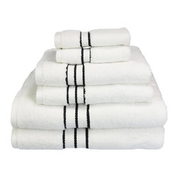"""900 GSM Hotel Collection 6 Piece Towel Set, Black - These ultra-soft towels create a spa experience. These updated 900 GSM towels feature triple stripes in the center of the towel and a hanging hook for easy hanging. Treat yourself to this lush, beautiful towel set for an easy way to revitalize your bath decor. This towel can also be found in various other colors. Set includes two bath towels 30""""x55"""" each, two hand towels 20""""x30"""" each, and two face towels 13""""x13"""" each."""
