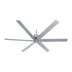 Hunter Fan - 96 Inch Industrial Ceiling Fan - Introducing the 96 Inch Industrial Ceiling Fan. It is designed to significantly improve air circulation in large spaces like vaulted living rooms, pole barns, and industrial buildings. The large blades do the work - it turns at lower speeds than a standard ceiling fan yet moves much more air (CFM) because of its long 96 inch aluminum blade span. With this fan, you get the air circulation you need to regulate room temperature and keep heating costs down without the wind and breeze created by smaller fans. Can also be installed as a three blade fan. Damp rated for use in covered porches, patios, and sunrooms and uses Dust Armor nanotechnology blade coating to repel dust buildup. Satin metal finish. Features six blades, three speeds, and wall control. Supplied with 12 inch downrod. Dimensions: 96 inch width x 24.6 inch height.