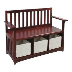 """Guidecraft - Guidecraft Espresso Storage Bench w/bins - Children's bench with three storage compartments; includes three fabric storage bins. Bench: 34.5""""W x 14.5""""D x 27""""H. Storage bins (ea): 8""""W x 12""""D x 6.5""""H."""