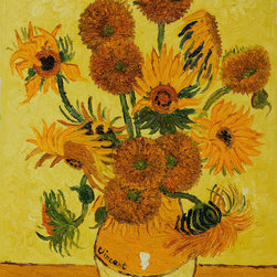 "overstockArt.com - Van Gogh - Vase with Fifteen Sunflowers - 24"" X 36"" Oil Painting On Canvas Hand painted oil reproduction of a famous Van Gogh painting, Vase with Fifteen Sunflowers. The original masterpiece was created in 1889. Today it has been carefully recreated detail-by-detail, color-by-color to near perfection. Van Gogh created copies of his own work while in St. Remy asylum. The sunflower paintings reminded him of the happy days spent in a yellow house with another artist. By reproducing his own work he balked at the notion of supremacy for the ""one-off"" and ""never-to-be-repeated"" original. In fact he repainted his images so that he might retain a copy of what he gave away to friends. Vincent Van Gogh's restless spirit and depressive mental state fired his artistic work with great joy and, sadly, equally great despair. Known as a prolific Post-Impressionist, he produced many paintings that were heavily biographical. This work of art has the same emotions and beauty as the original. Why not grace your home with this reproduced masterpiece? It is sure to bring many admirers!"
