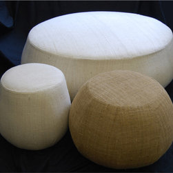 IMAKE Studio - IMAKE Studio Tabla Ottoman - Tabla is inspired by the Indian percussion instrument, which have the same name.  This ottoman is available in three size with either a white Eri or brown Muga Ghicha upholstery.  Manufactured by IMAKE Studio.Designed in 2009.